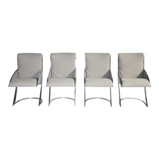 Milo Baughman Style Chrome Dining Chairs - Set of 4