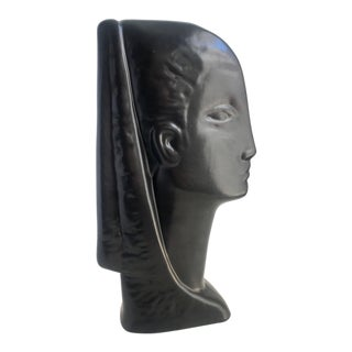 1980's Art Deco Style Female Bust Statue For Sale