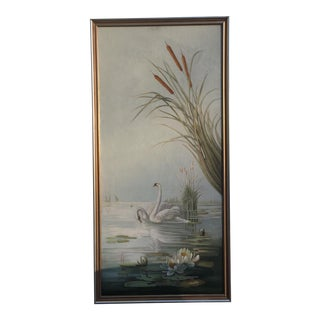 Chinoiserie Water Scene Lotus and Lillypad Painting Wall Panel For Sale