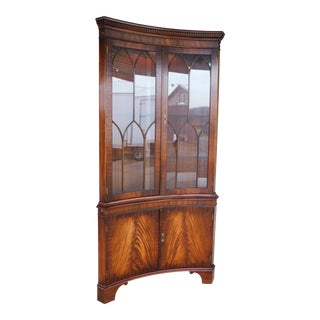 Bevan Funnell English Georgian Style Mahogany Corner Cabinet For Sale