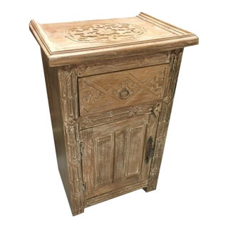 Rustic Carved Side Chest With One Door and One Drawer and White Washed Finish For Sale