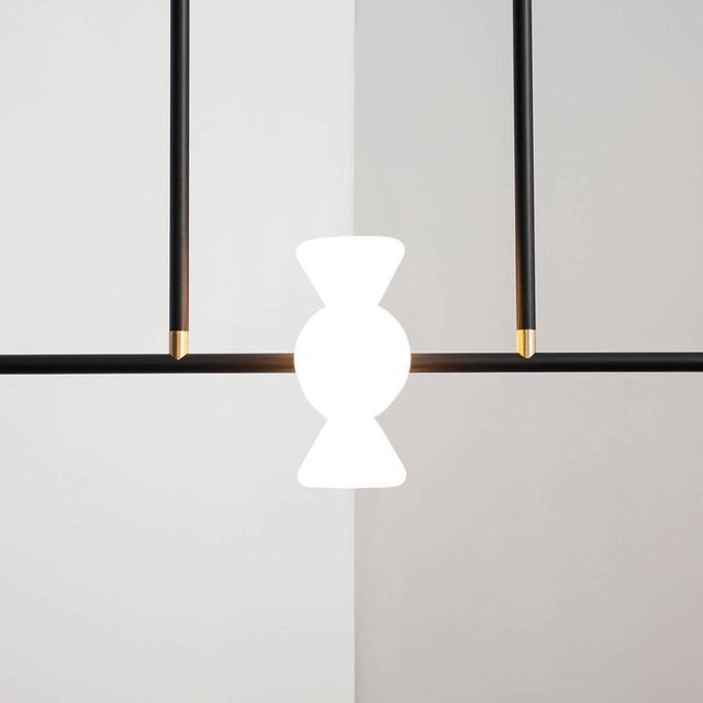 McKenzie and Keim - Apollo Six Chandelier - Contemporary Linear Matte Black Led Modern Light Fixture For Sale - Image 4 of 10
