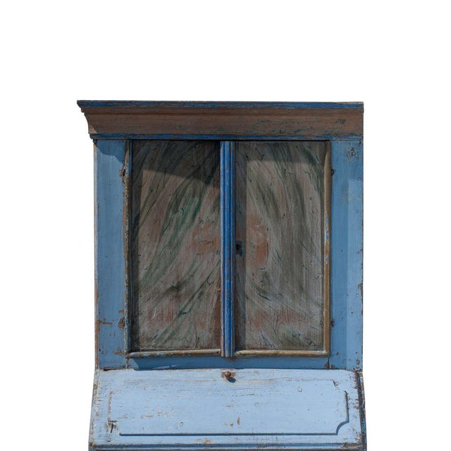 Mid-Century Modern Blue Painted Swedish Secretaire For Sale - Image 3 of 9