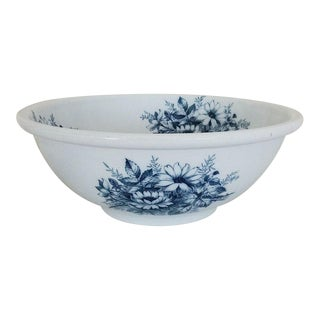 Antique Villeroy & Boch Blue & White Transferware Bowl For Sale