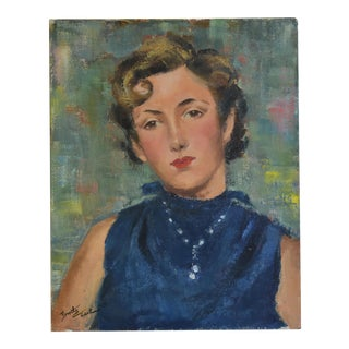 Dorothy Neal 1960s Lady in Blue Portrait Oil Painting