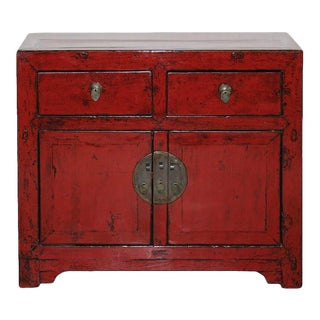 Antique Asian Style Red Beijing Side Chest For Sale