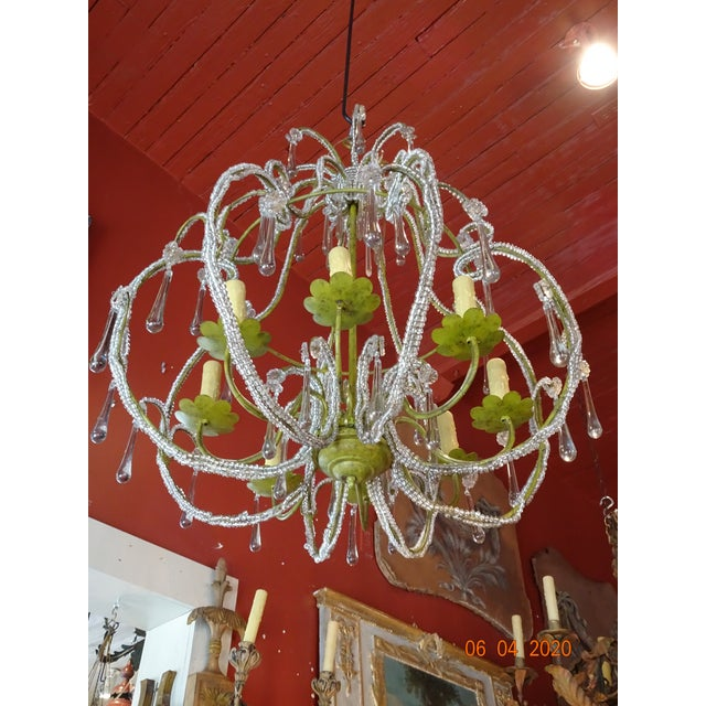 French Beaded Crystal Chandelier For Sale - Image 13 of 13