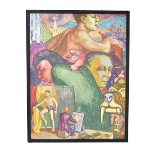 """Vintage 1950's Surrealist Painting """"Face Montage"""" Dick Fort Chicago For Sale"""