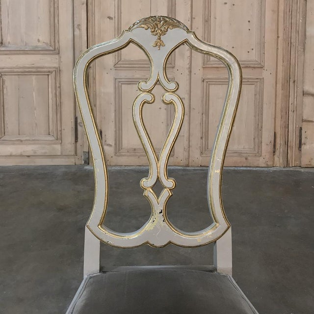 Eight 19th CenturyPainted and Gilded Italian Dining Chairs- Set of 8 For Sale - Image 11 of 13
