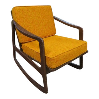 Vintage Danish Modern Teak Rocking Chair For Sale