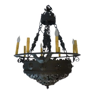 1910s Nine Light Wrought Iron Chandelier For Sale