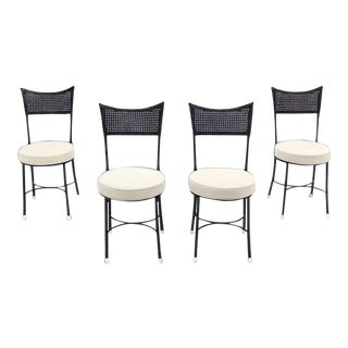 Cast Aluminum Faux Bamboo and Cane Round Seat Chairs - Set of 4 For Sale