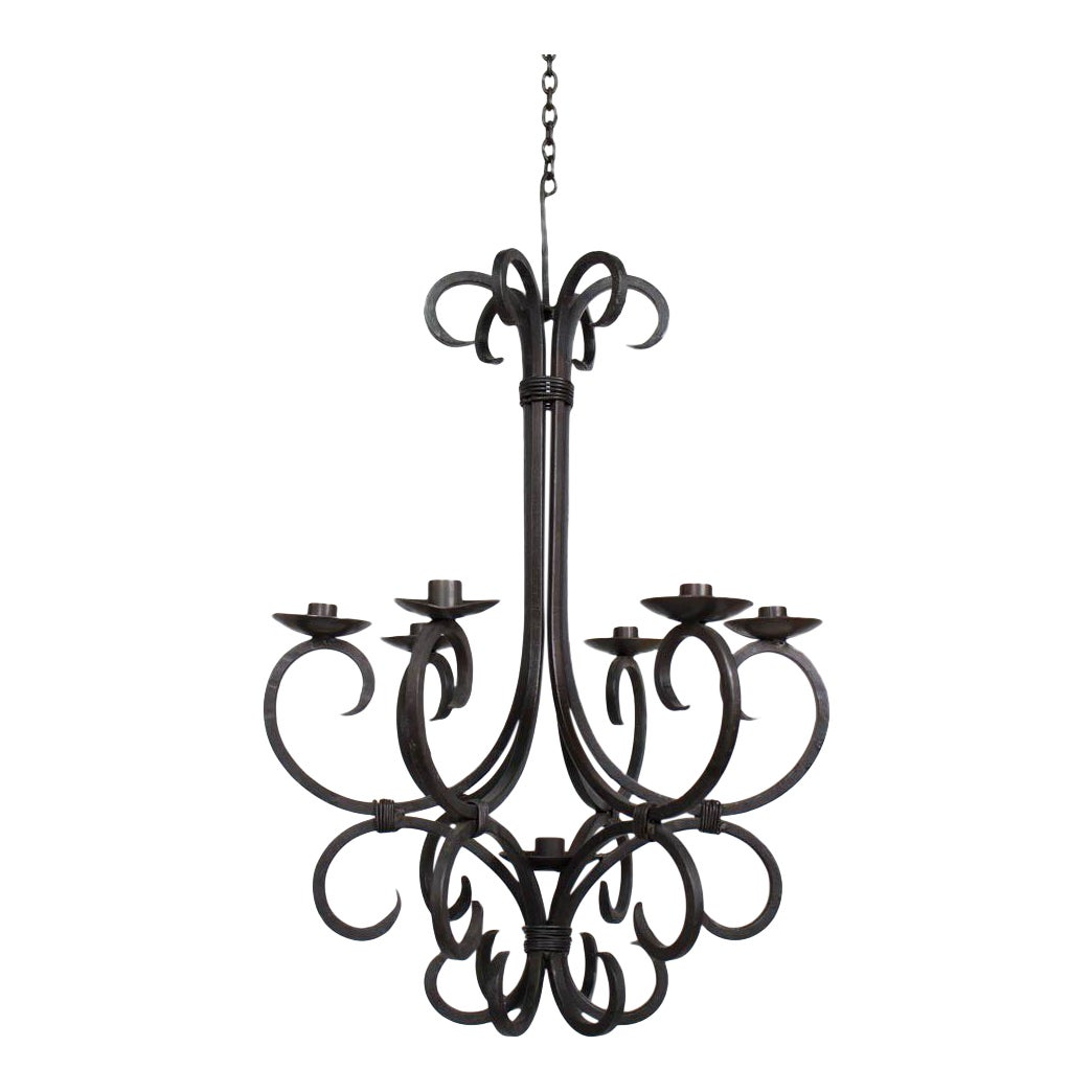 Rustic hand made iron candle chandelier