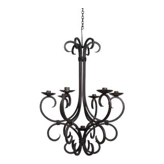 Rustic handmade Iron Candle Chandelier For Sale