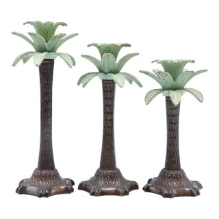 Graduated Palm Tree Candlesticks - Set of 3 For Sale