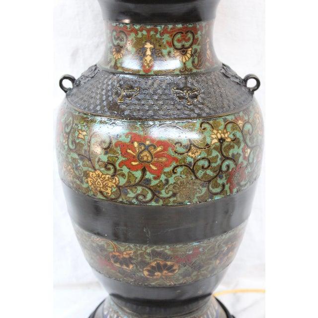 Large Champleve Enameled Urn Lamp - Image 3 of 7