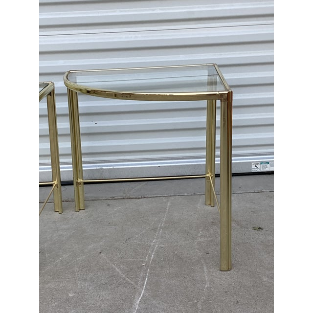 Glass Mid Century Milo Baughman Glass Top Corner Nesting Tables - 3 Pieces For Sale - Image 7 of 11
