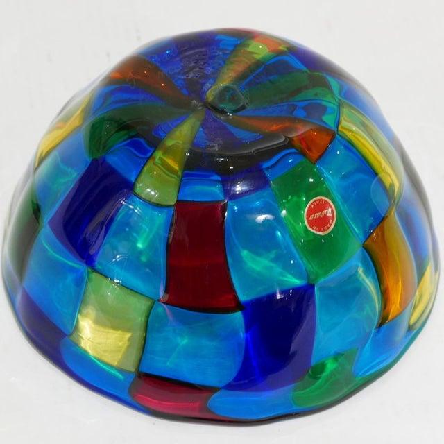 """Italian Vibrant Blue Ballarin Murano Glass """"Pezzatto"""" Bowl Signed W Label For Sale In New York - Image 6 of 9"""