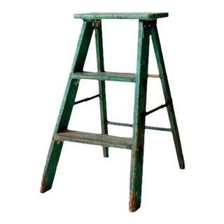 Vintage Green Wood Step Ladder