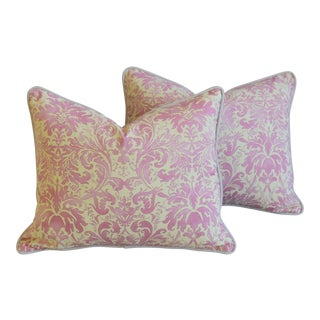 Italian Mariano Fortuny Lucrezia Pink/Cream Feather & Down Pillows - Pair