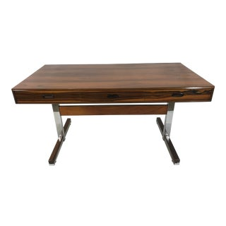 1970s Danish Modern Rosewood and Chrome Writing Desk For Sale