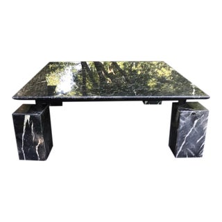 1980s Vintage Black and White Square Chunky Marble Table in Style of Kelly Wearstler For Sale