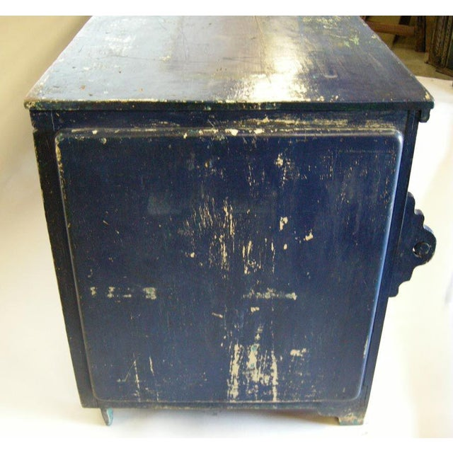 Antique Painted Blue Shop Counter With Glass Front For Merchandise Display For Sale In Los Angeles - Image 6 of 11