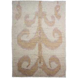 Traditional Floral Ikat Rug - 7'9 x 10'6 For Sale