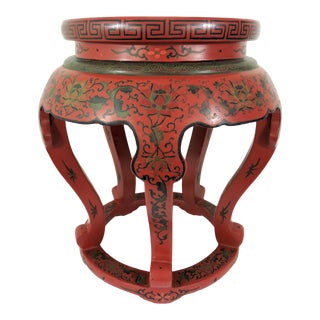Antique Chinese Red Lacquer 'Courtesans and Clouds' Stool or Pedestal Stand For Sale