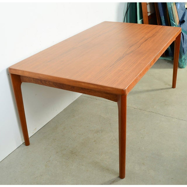 1960s Danish Modern Large Teak Dining Table With 2 Dutch Leaves For Sale - Image 5 of 9
