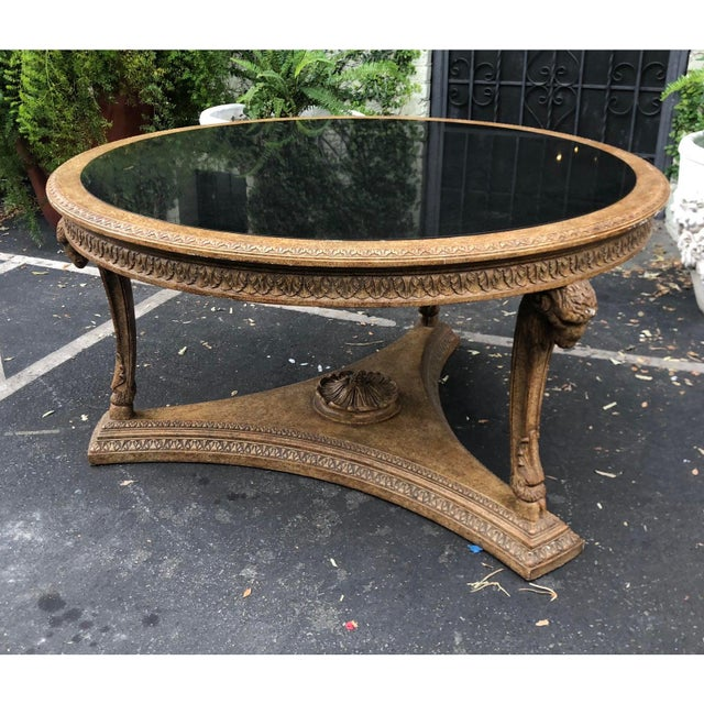 Italian Carved Italian Rams Head Center Table W Granite Top For Sale - Image 3 of 4