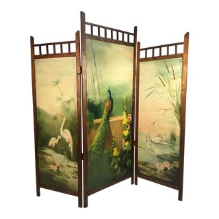 1940s Vintage Hand Painted Screen Dividers For Sale