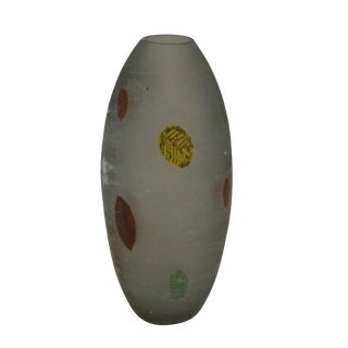 A Gino Cenedese 'A Scavo' Glass Vase With Fall Leaves For Sale