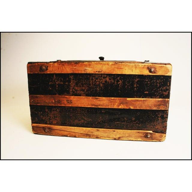 Victorian Antique Black Steamer Trunk - Image 11 of 11