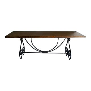 Ebony Metal and Brass Scroll Base Dining Table Wood Top Baroque Style For Sale