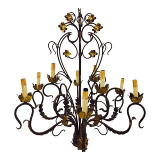 Antique Hand Forged Wrought Iron Tole Chandelier For Sale