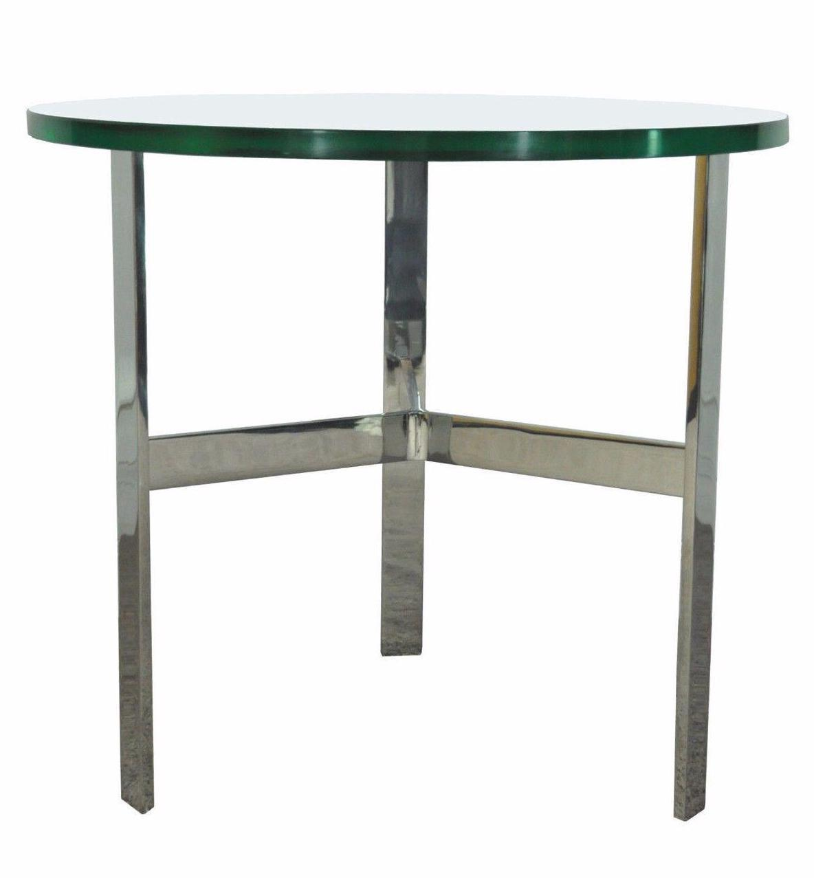 Vintage Mid Century Modern Chrome Glass Side Occasional Table