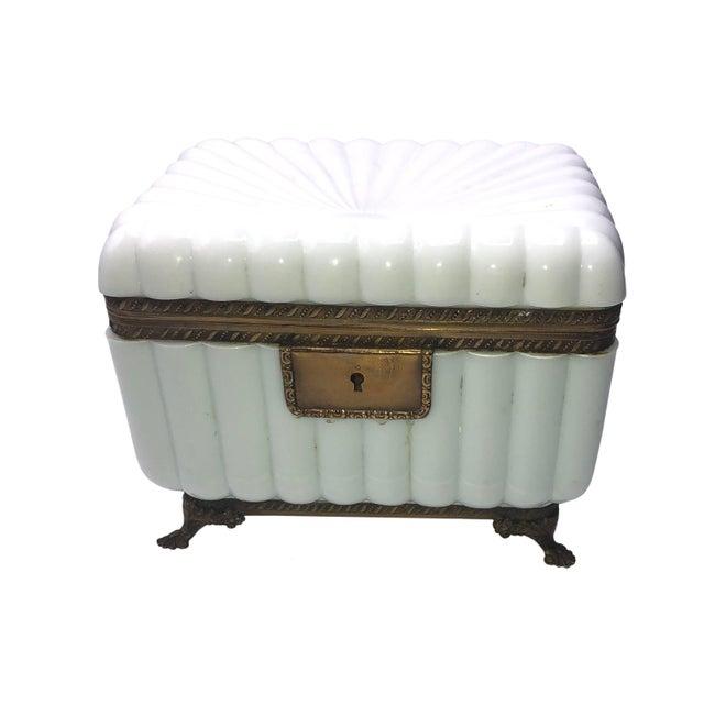 French white opaline dresser box, jewelry casket in starburst pattern with key, Circa 1950, France.