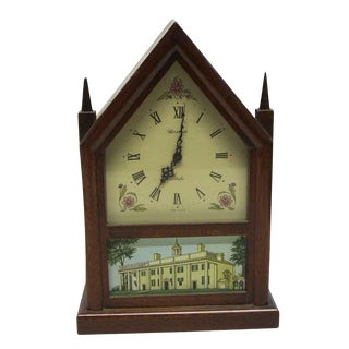 1970s Wood With Estate Motif Small Herschede Mantel Clock For Sale