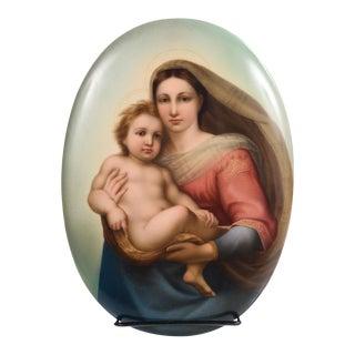 19th Century Kpm Porcelain Plaque of a Sistine Madonna & Child For Sale