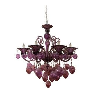 Cyan Design Bella Vetro Purple Blown Glass Chandelier For Sale