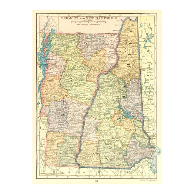Vintage Vermont and New Hampshire 1926 Map For Sale