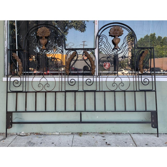 Vintage Hollywood Regency Wrought Iron and Wood Accent Headboard For Sale - Image 11 of 11