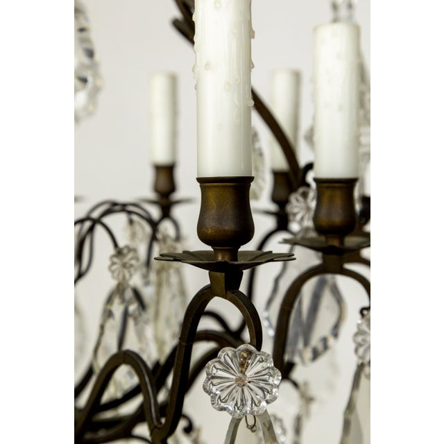 Parisian Second Empire Style Darkened Brass Chandeliers - a Pair For Sale - Image 12 of 13