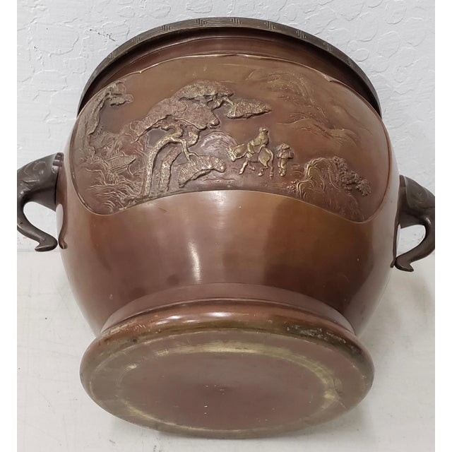 Early 20th Century Raised Relief Chinese Bronze Planter Fantastic bronze planter. Great for your orchids or other large...
