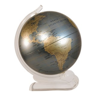 Vintage 1970s Globe Replogle Diamond Marquise Lucite World Map Globe For Sale