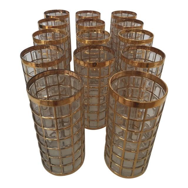 Imperial Glass Toril De Oro Gold 15 Highball Drinks Glasses For Sale