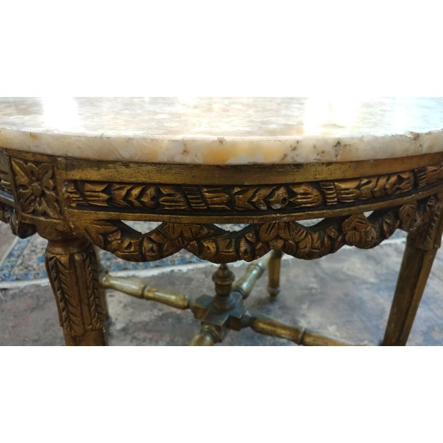 19th Century Louis XV Carved Gilt & Marble Top Coffee Table For Sale - Image 4 of 8