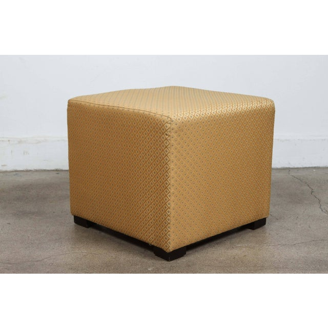 Blue Pair of Gold Cube Upholstered Moroccan Ottomans, Poufs For Sale - Image 8 of 9