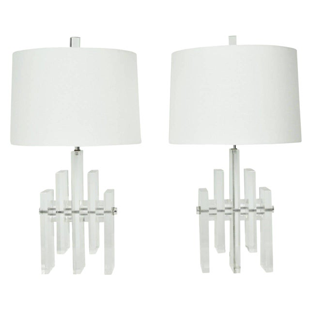 Early 20th Century Chrome Rod Lucite Skyscraper Lamps - A Pair For Sale